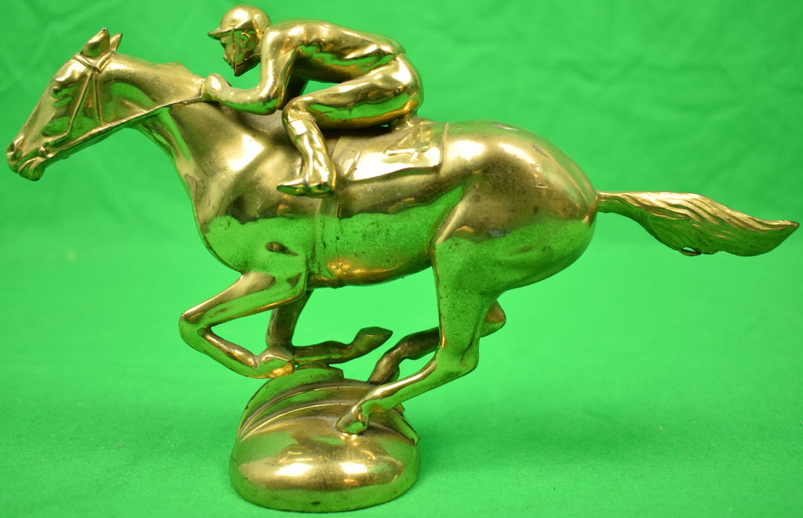 Jockey on #4 Racehorse Gilt Bronze Car c1930s Mascot