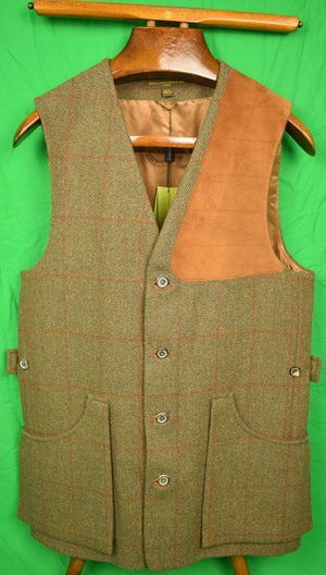 Holland & Holland Tweed Shooting Vest w/ Left Suede Shoulder Patch New w/ Tags! Sz: 38