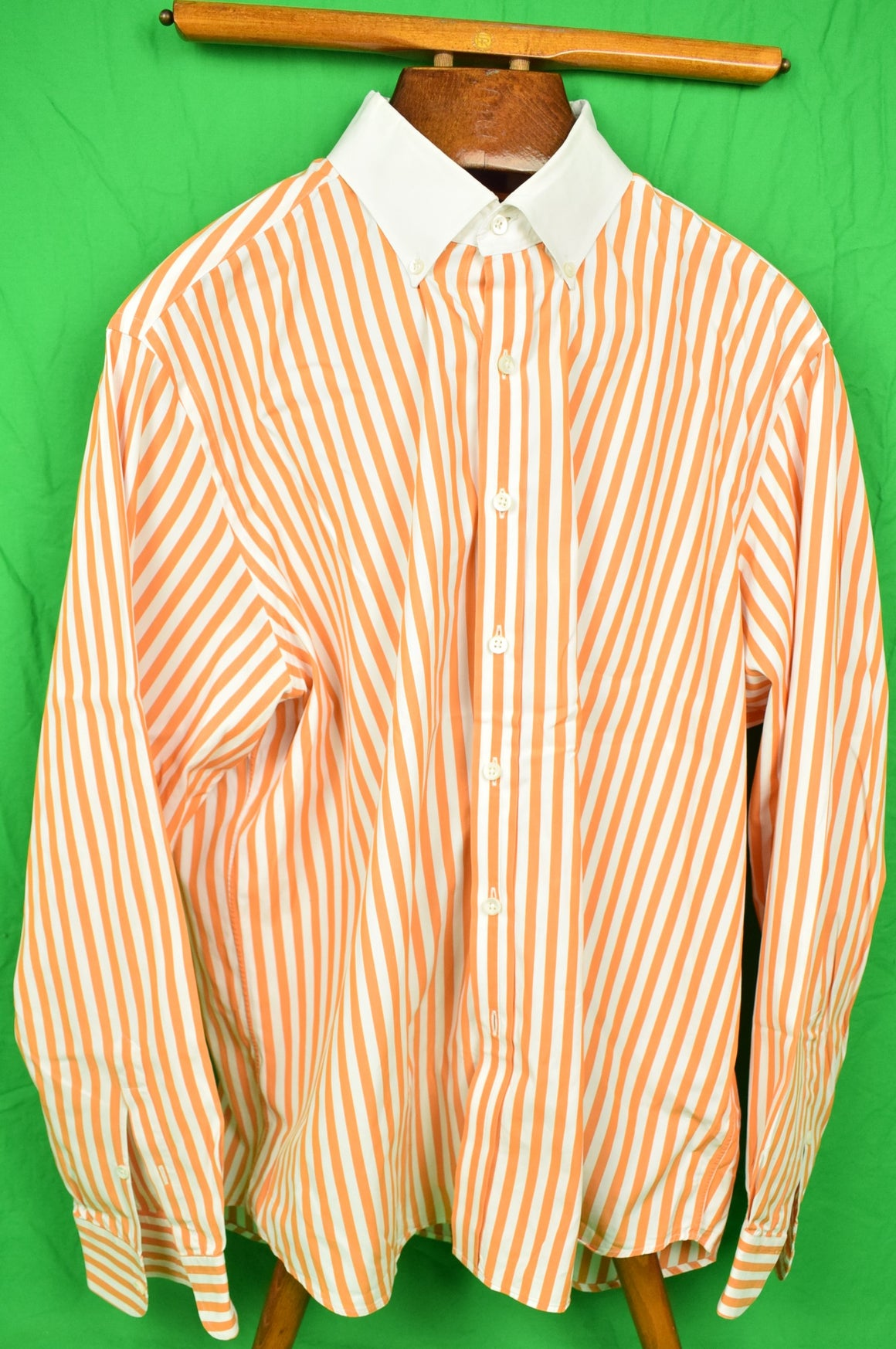 Ralph Lauren Purple Label Orange Bengal Stripe Dress Shirt w/ White BD Collar Sz: XXL