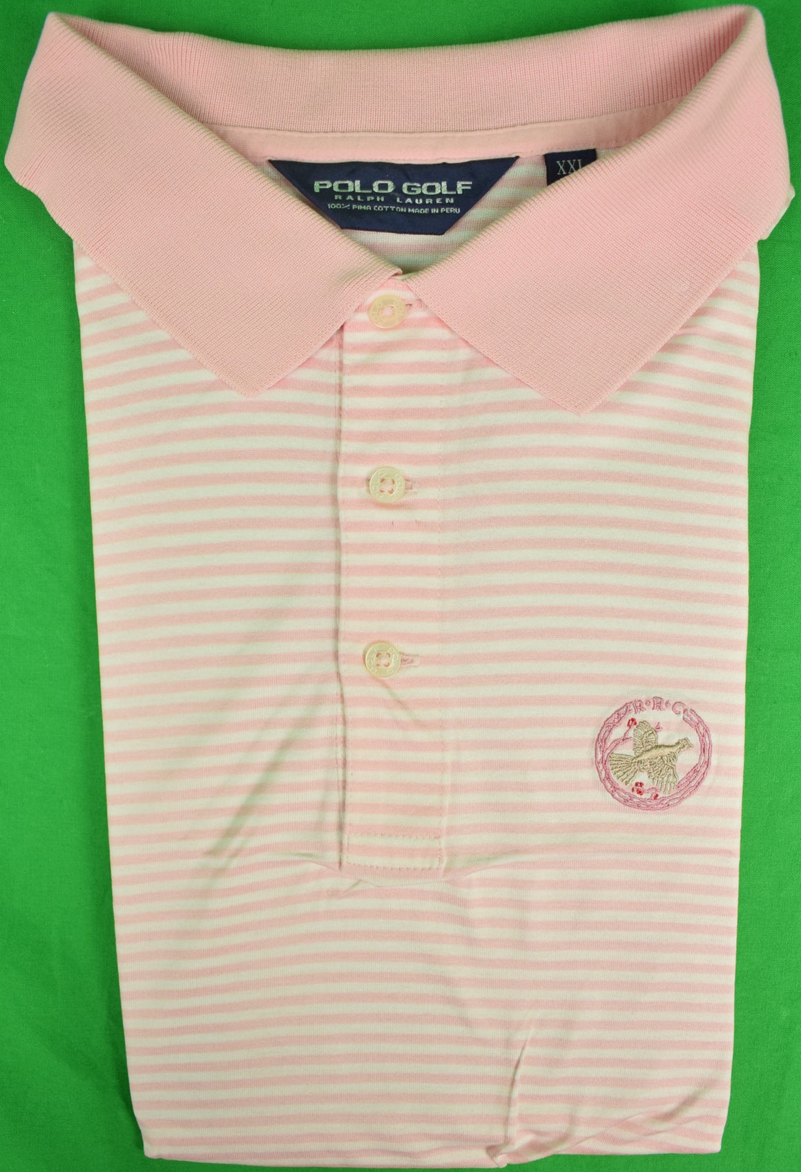 Ralph Lauren Polo Golf Pink/White S/S Stripe Shirt w/ Rolling Rock Club Logo Sz: XXL