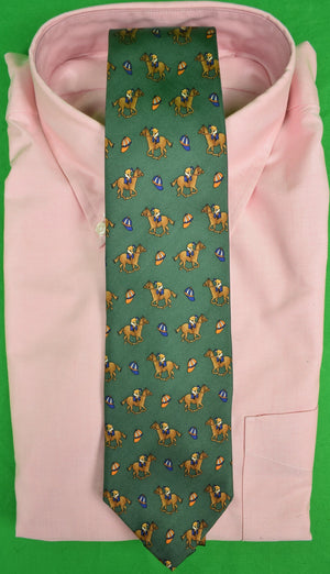 The Andover Shop Jockey on Racehorse Green Silk Club Tie (New w/ Tag!)