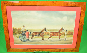 """Lady Driving a 2-Horse Carriage"" c1929 Gouache by H. W. Standing"