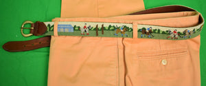 Custom Hand-Needlepoint Polo Match Belt Sz: 40
