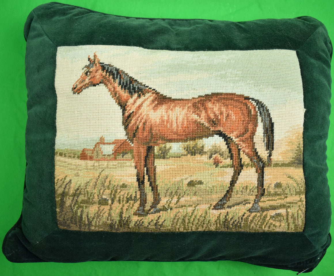 Petit-Needlepoint Horse Pillow w/ Hunter Green Velvet