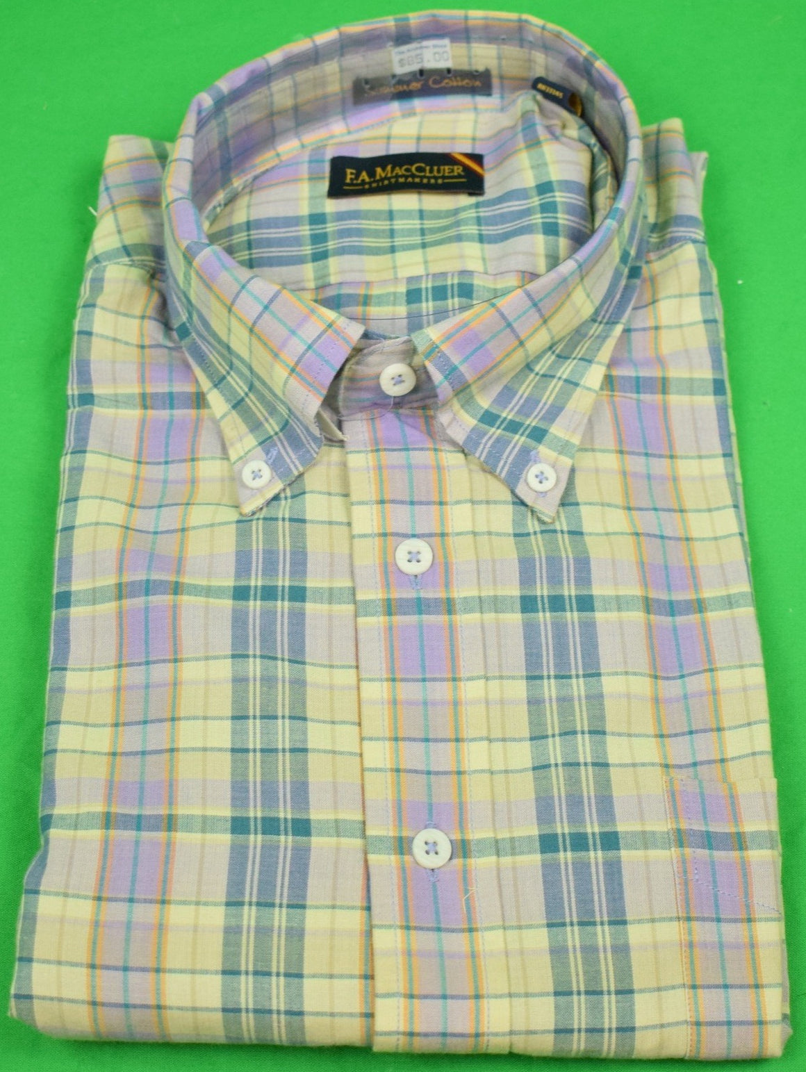 """The Andover Shop by F.A. MacCluer India Madras L/S BD Sport Shirt"" Sz: XL (Deadstock!)"