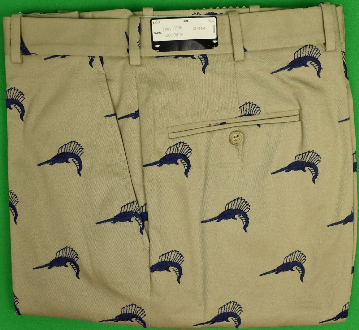 Maus & Hoffman Khaki Twill Trousers w/ Sailfish Motif Sz: 34R (New w/ Tag!)