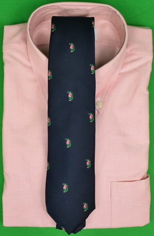 Ultimate Prep c1982 Pink & Green Gator Navy Club Tie by Alynn