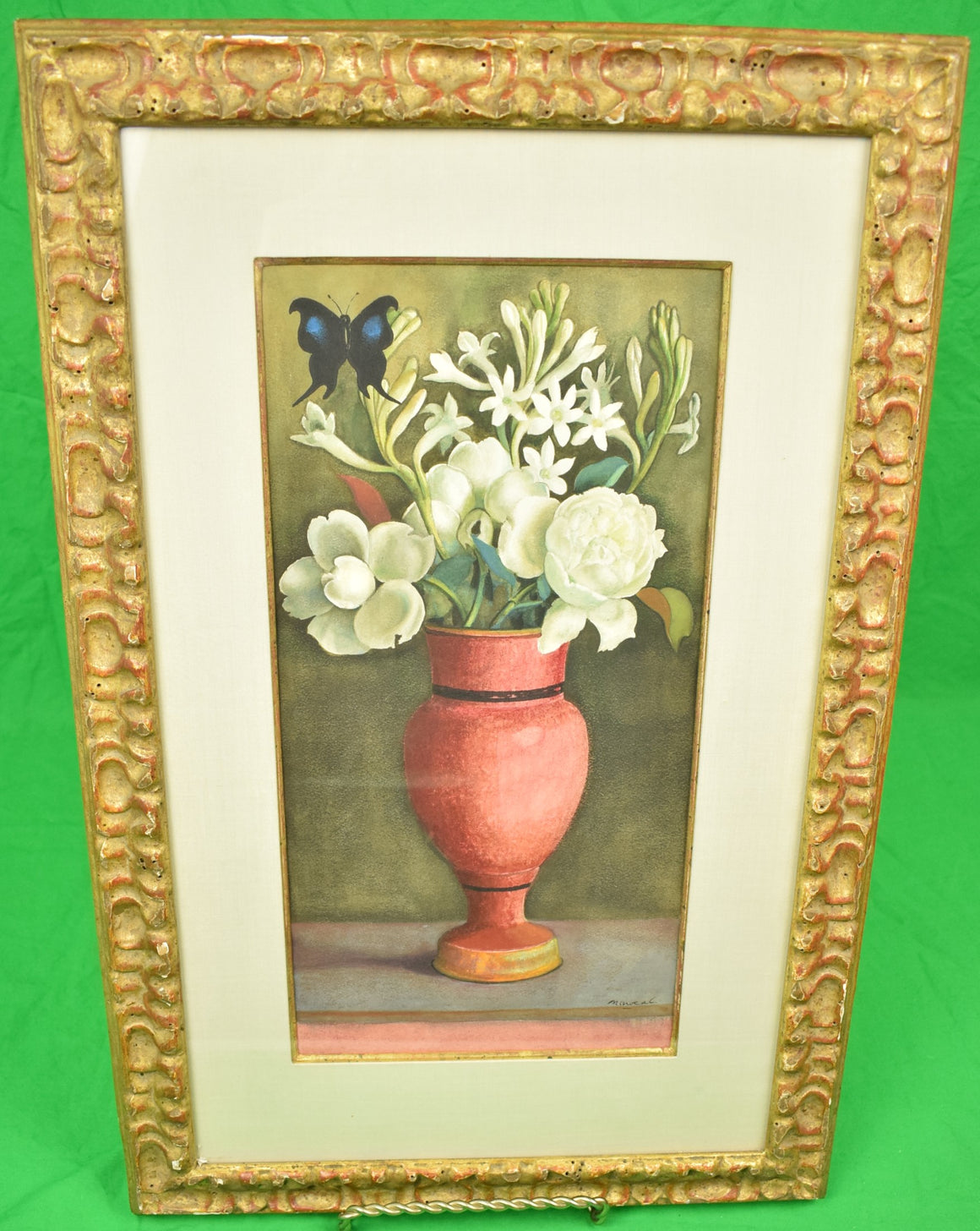 Richard de Menocal Floral Vase Still Life w/ Butterfly Oil on Canvas