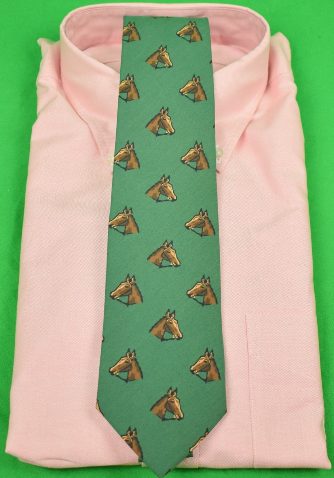 Drake's of London for Alan Flusser Horse Head Silk Ancient Madder Green Silk Tie