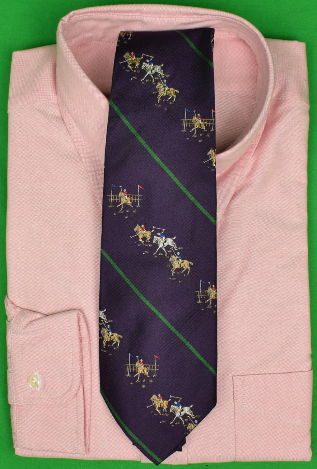 Polo by Ralph Lauren Purple w/ Green Stripe Polo Match Motif Jacquard Silk Tie