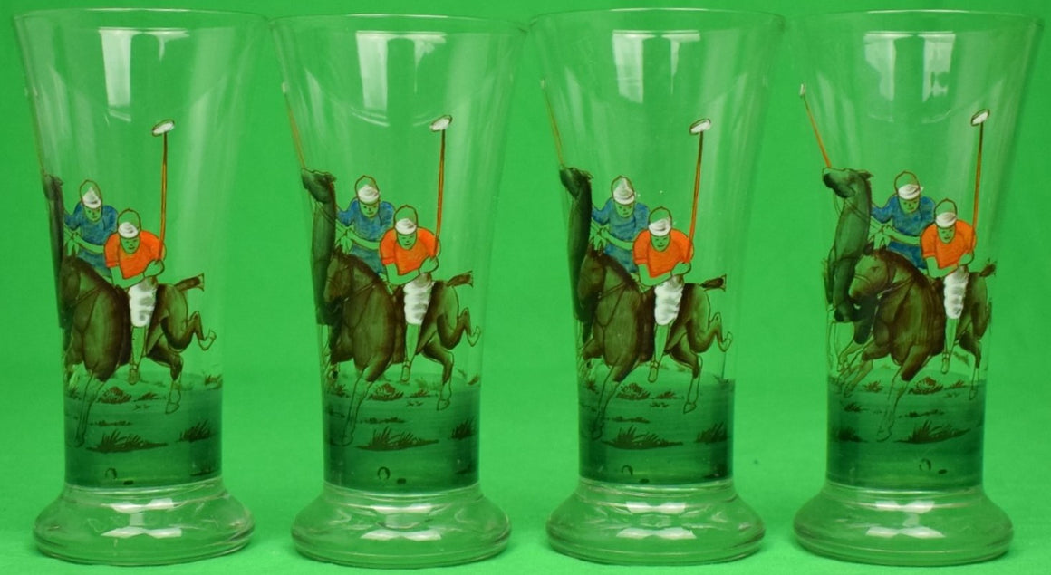 """Set of 4 Hand-Painted c1950s Polo Player Pilsner Glasses"""