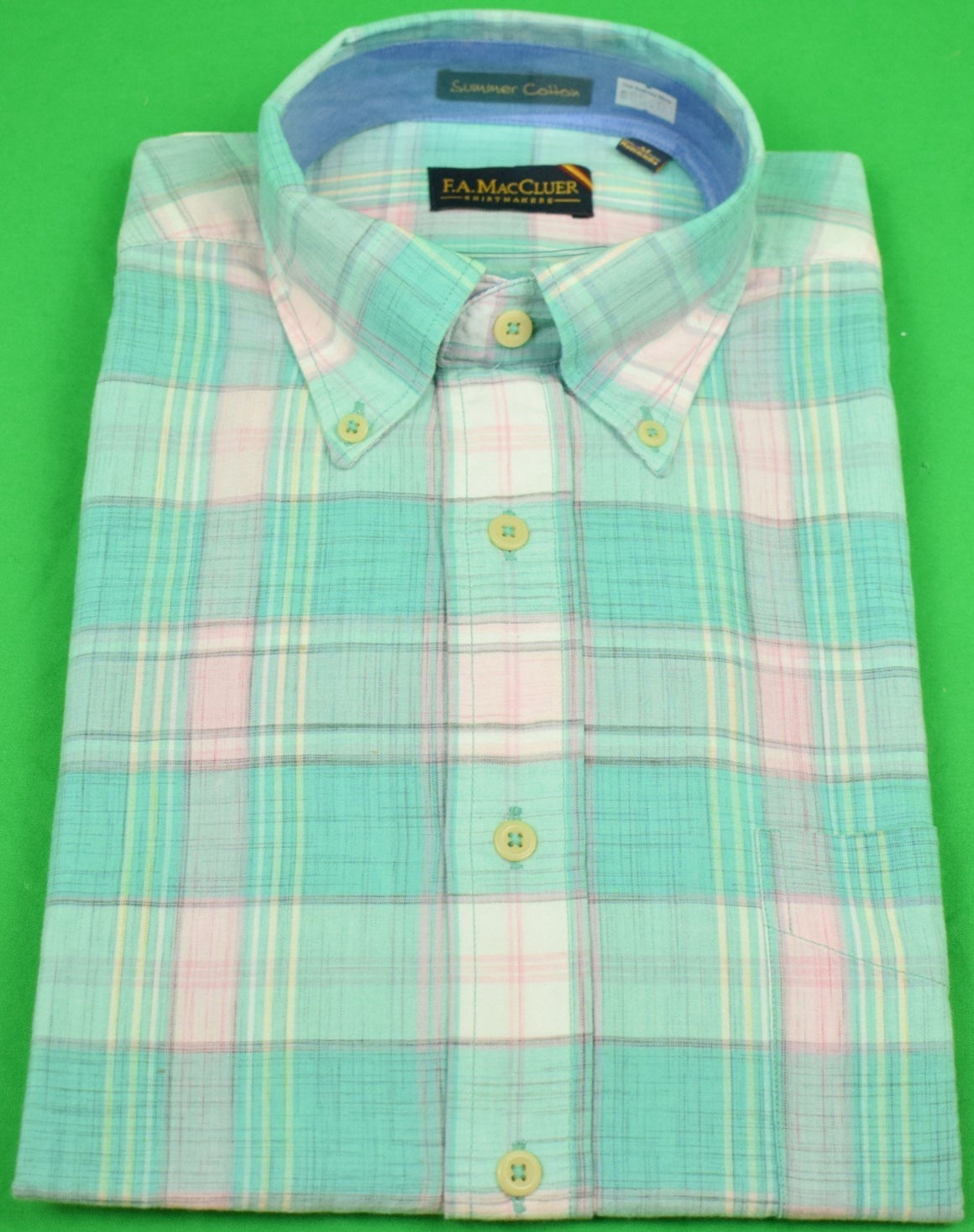 The Andover Shop by F.A. MacCluer India Madras L/S BD Sport Shirt Sz: M Deadstock!