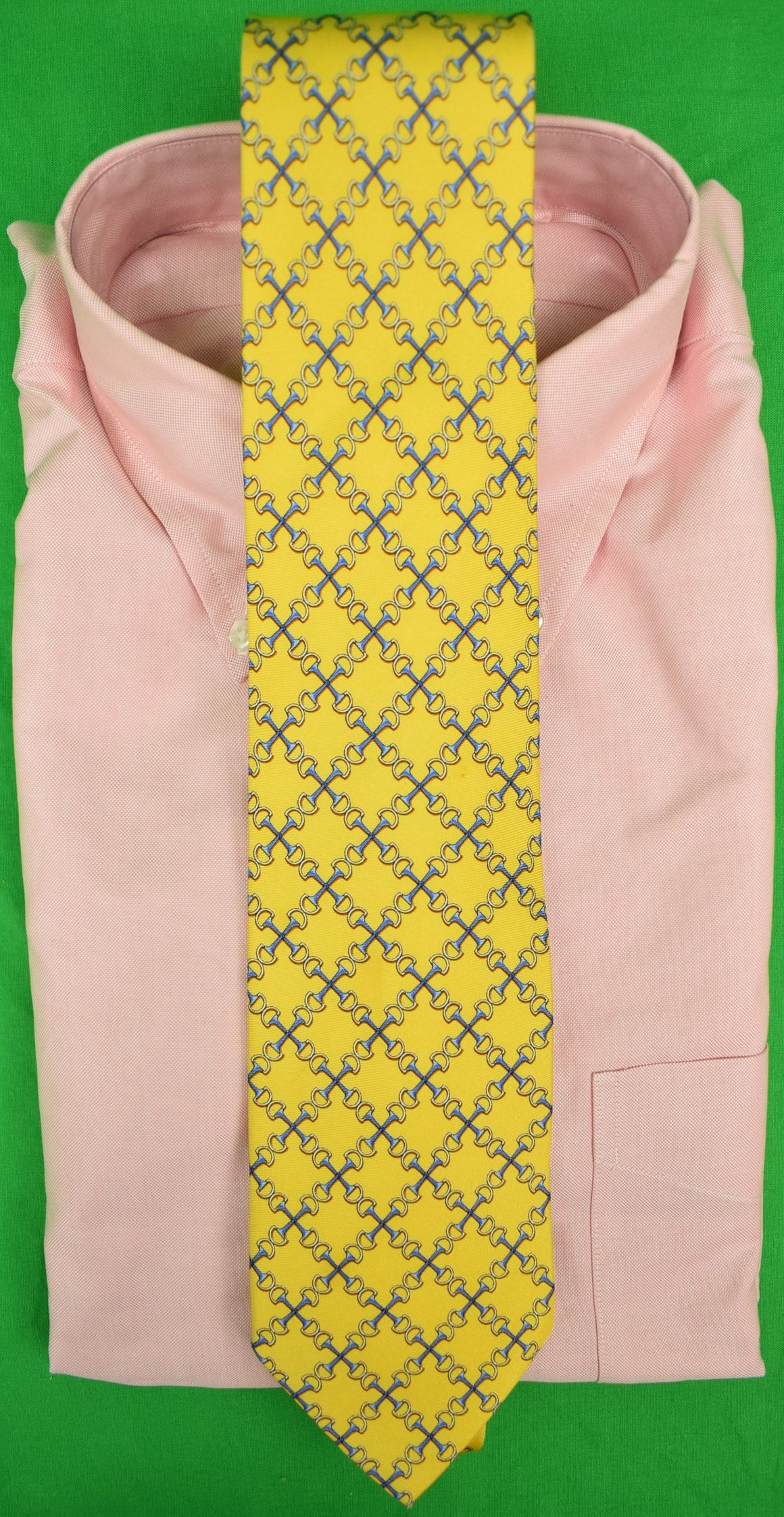 Bird Dog Bay Yellow Silk Horse-Bit Equestrian Motif Tie