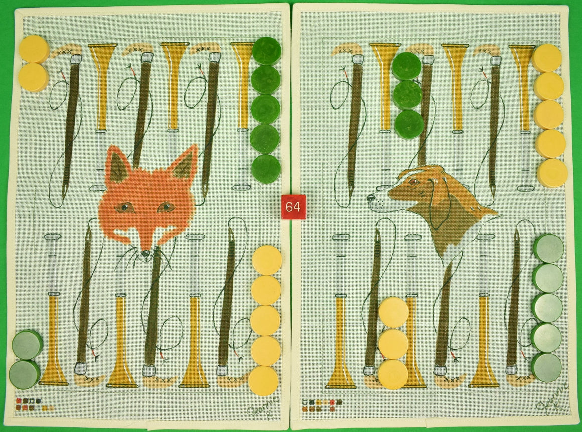 Fox & Hound Needlepoint Backgammon Canvas Set w/ Bakelite Chips (SOLD)