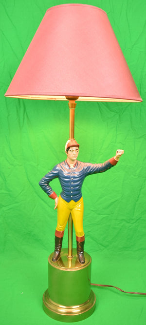 Blue Jacket Jockey Lamp w/ Red Silk Shade