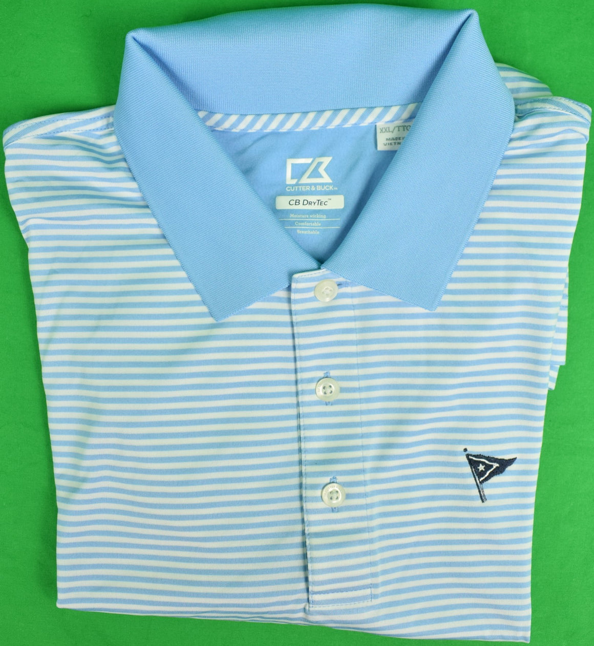 Cutter & Buck Blue/White Stripe Polo S/S Shirt w/ Nantucket Yacht Club Logo Sz: XXL