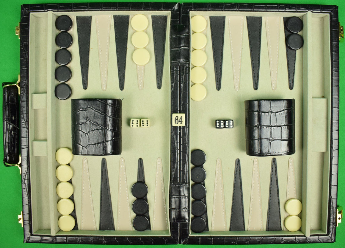 Brooks Brothers '346' Backgammon Board in Faux Croc Travel Case