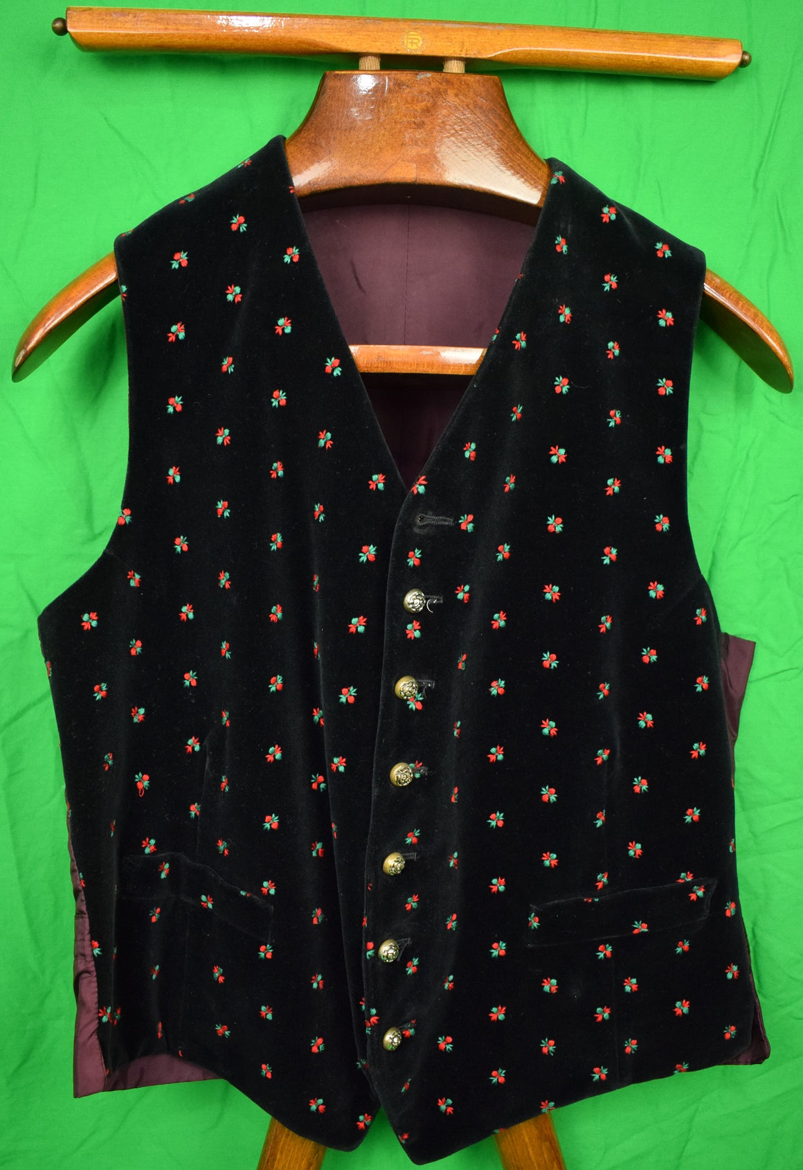 Black Velvet (7) Button Waistcoat w/ Embroidered Red & Green Holly