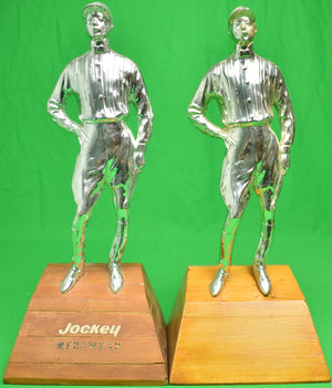 Pair of Silver Jockey Bookends