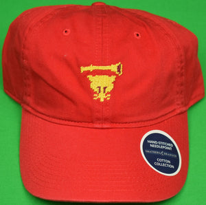 Myopia Hunt Club Red Chino Cap w/ Needlepoint MHC Logo (New w/ Tags!)