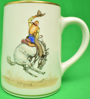 Abercrombie & Fitch Porcelain Mug w/ Rodeo Bronco Buster by Cyril Gorainoff