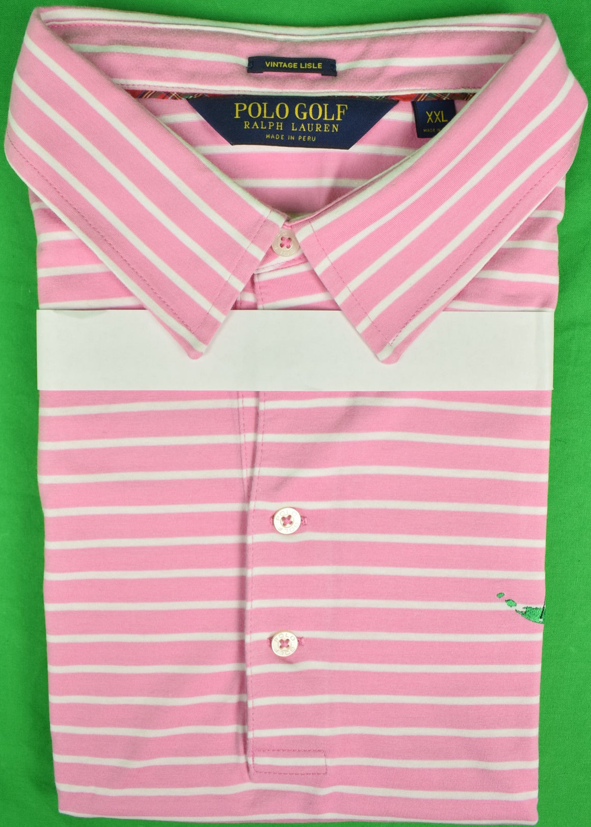 Ralph Lauren Golf Polo Pink/ White Stripe Shirt w/ Miacomet Club of Nantucket Logo Sz: XXL