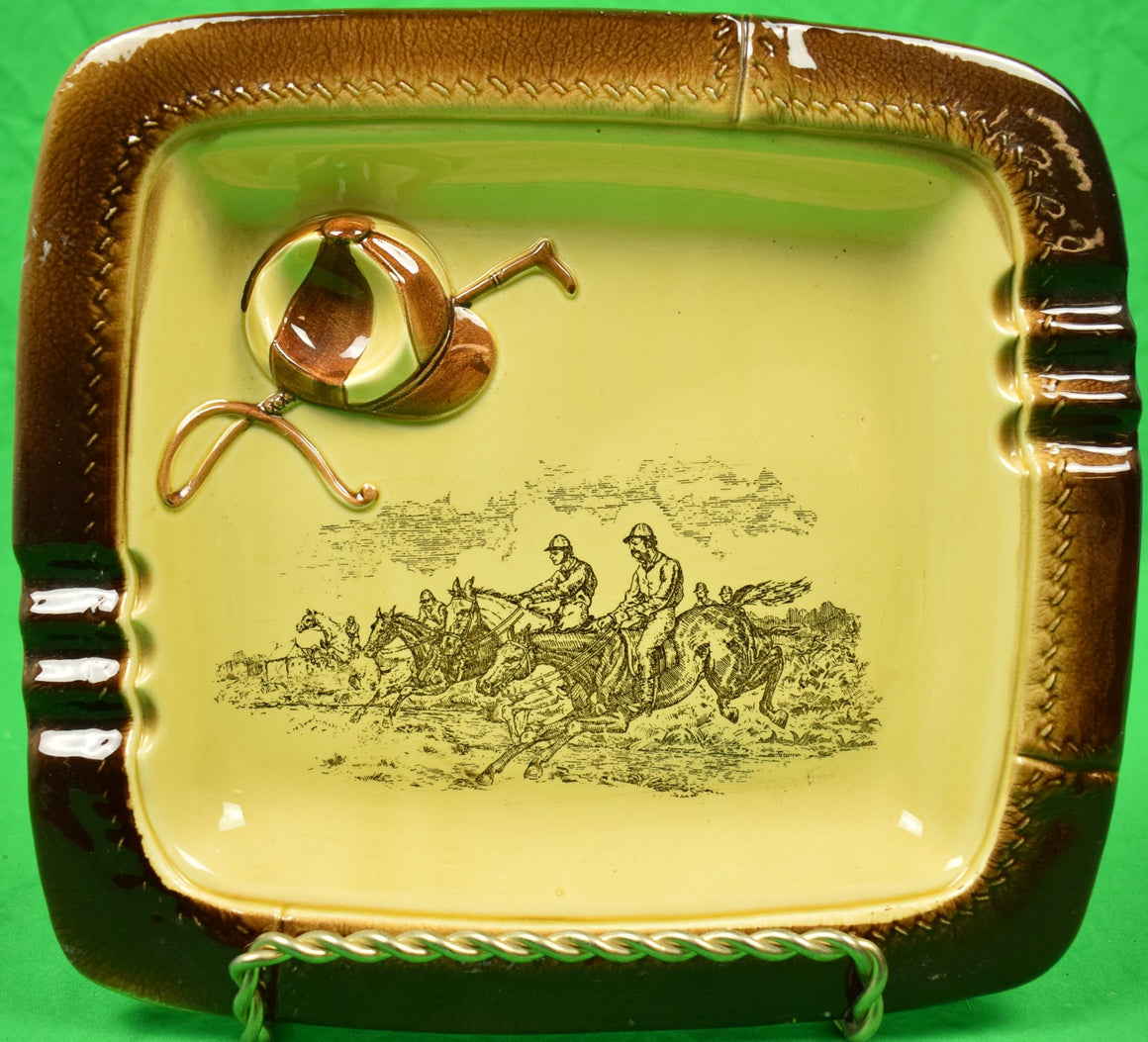 English Steeplechase w/ Jockey Cap & Riding Crop c1940s Ashtray