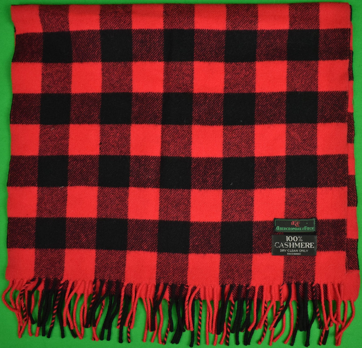 Abercrombie & Fitch Red/ Black Buffalo Check Cashmere Scarf