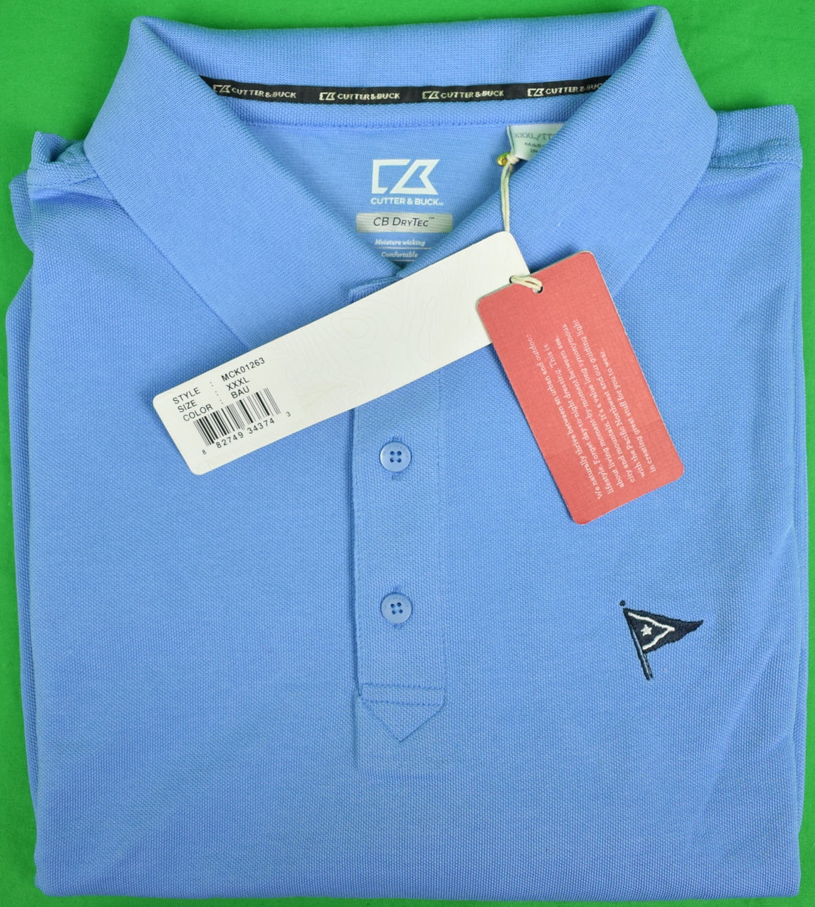 Cutter & Buck Ocean Blue Polo Shirt w/ Nantucket Yacht Club Logo Sz: XXL (New w/ Tags!) (SOLD)
