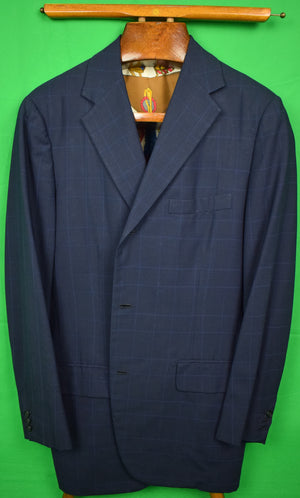 Chipp Navy w/ Royal Blue Windowpane Blazer w/ Hermes-like Scarf Lining
