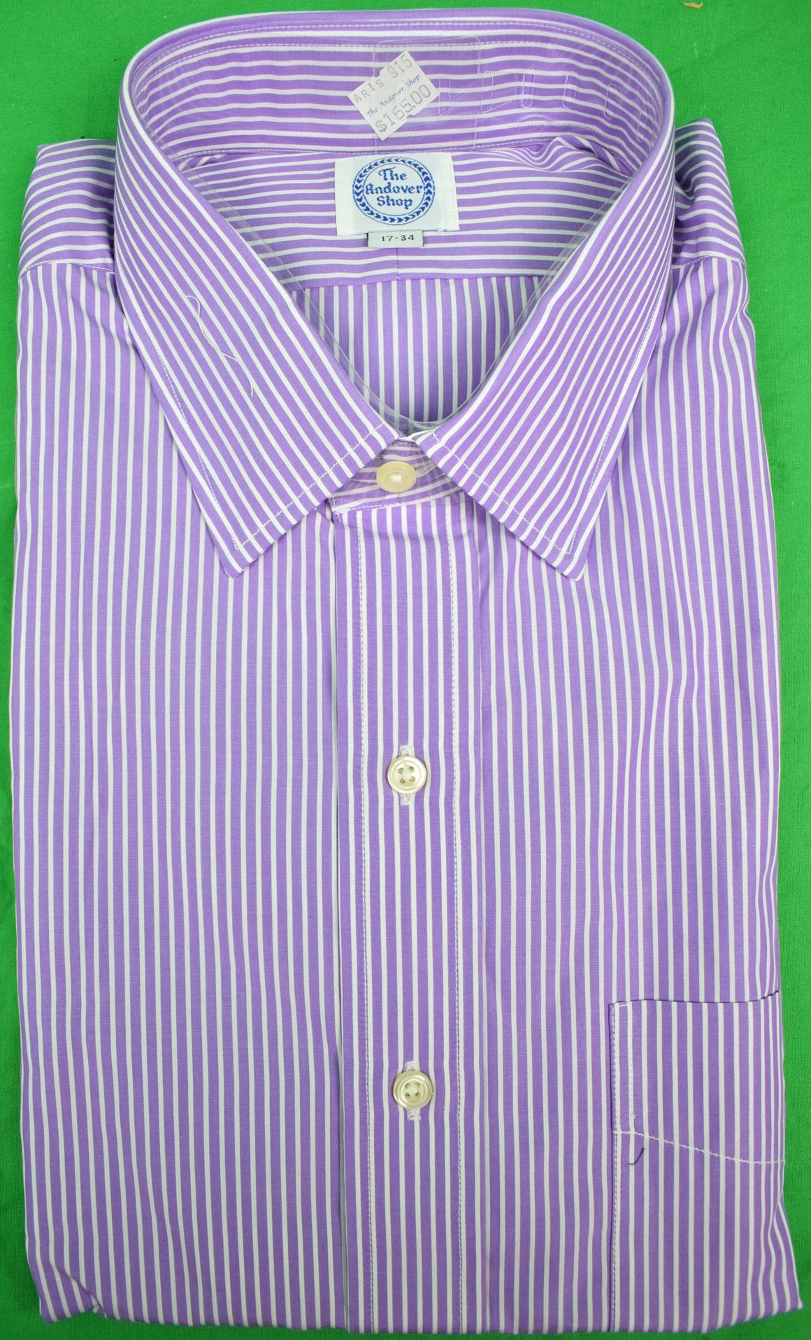 The Andover Shop Purple/ White Pinstripe Dress Shirt Sz: 17-34 (New w/ Tag!)