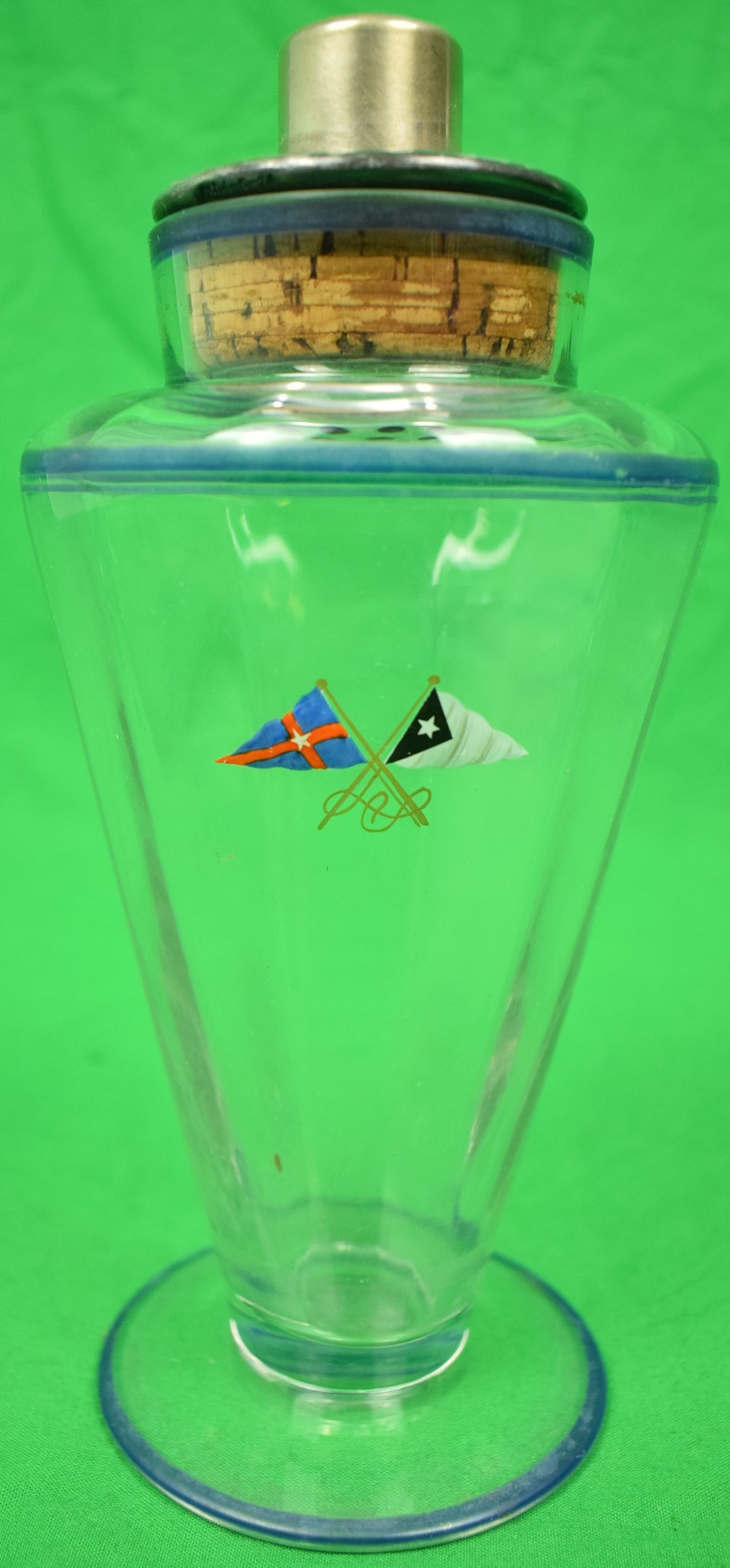 Art Deco Glass c1924 Cocktail Shaker w/ Hand-Painted New York Yacht Club Signal Flags