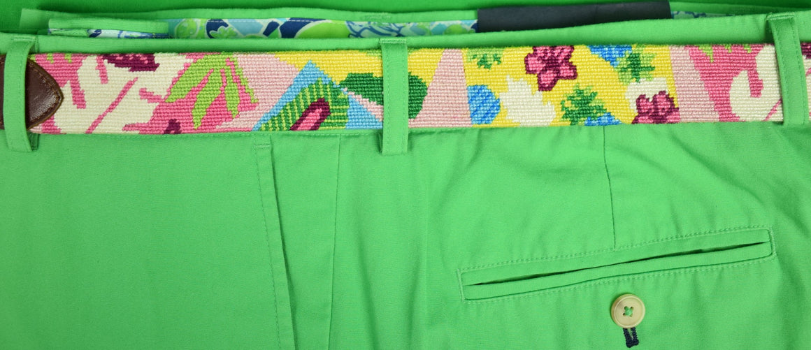 "Hand-Needlepoint Tropical Abstract Belt Sz: 30""W"