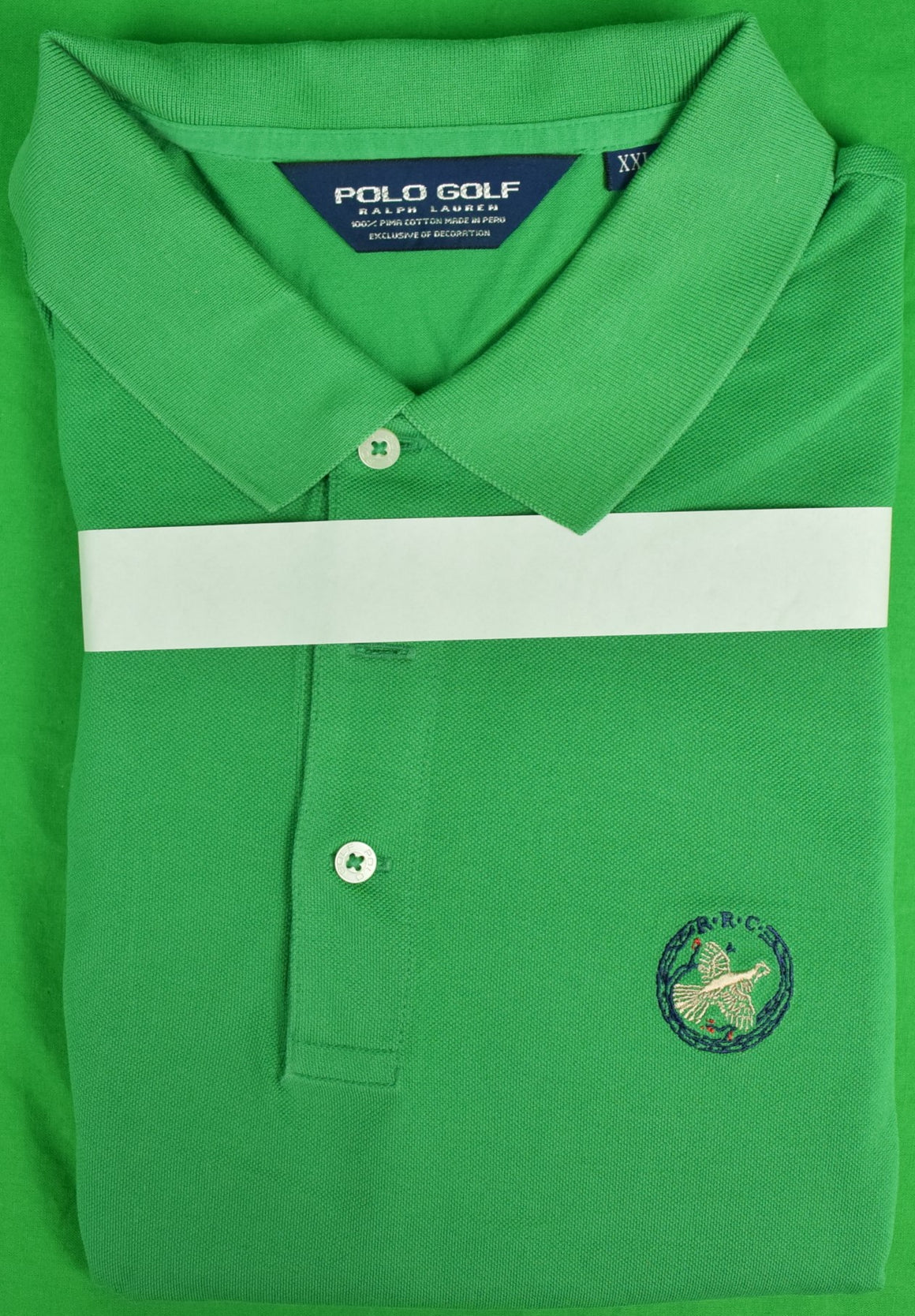 Ralph Lauren Polo Golf Green Polo Shirt w/ Rolling Rock Club Logo Sz: XXL