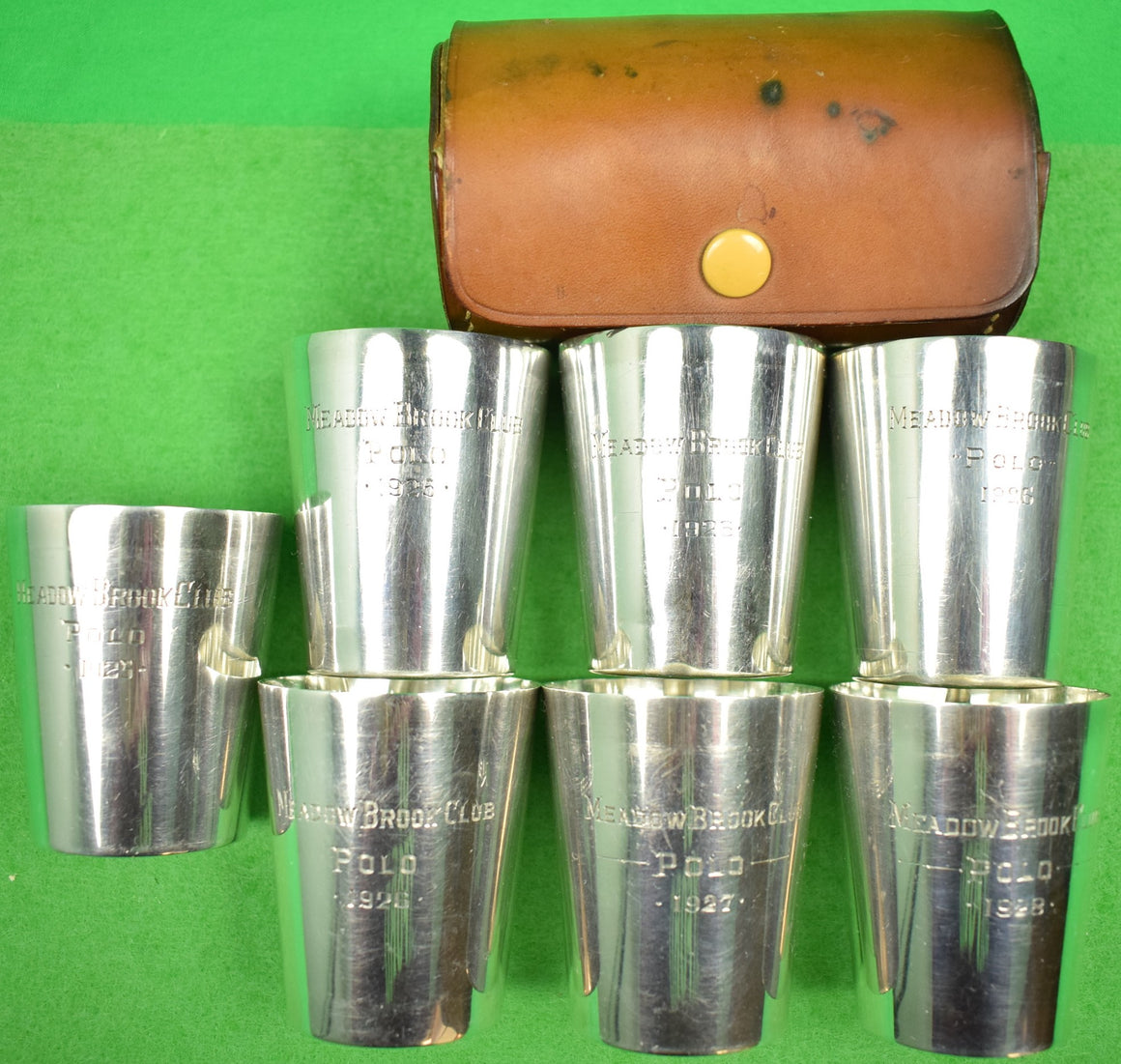 Set of 7 Meadow Brook Club Gorham Sterling Silver c1920s Polo Jigger Cups