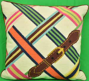 Jonathan Adler Hand-Needlepoint Equestrian Stripe Pillow (SOLD)