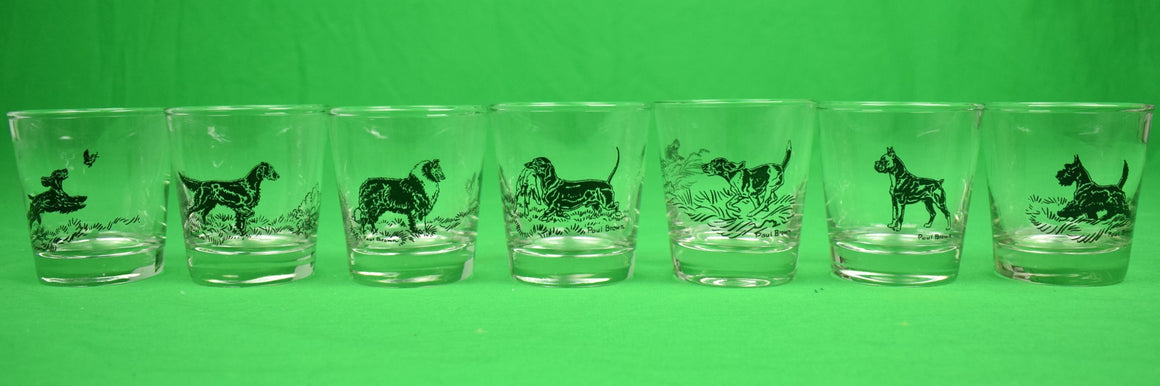 Set of 7 Dog Breed Old-Fashioned Glasses by Paul Brown for Brooks Brothers