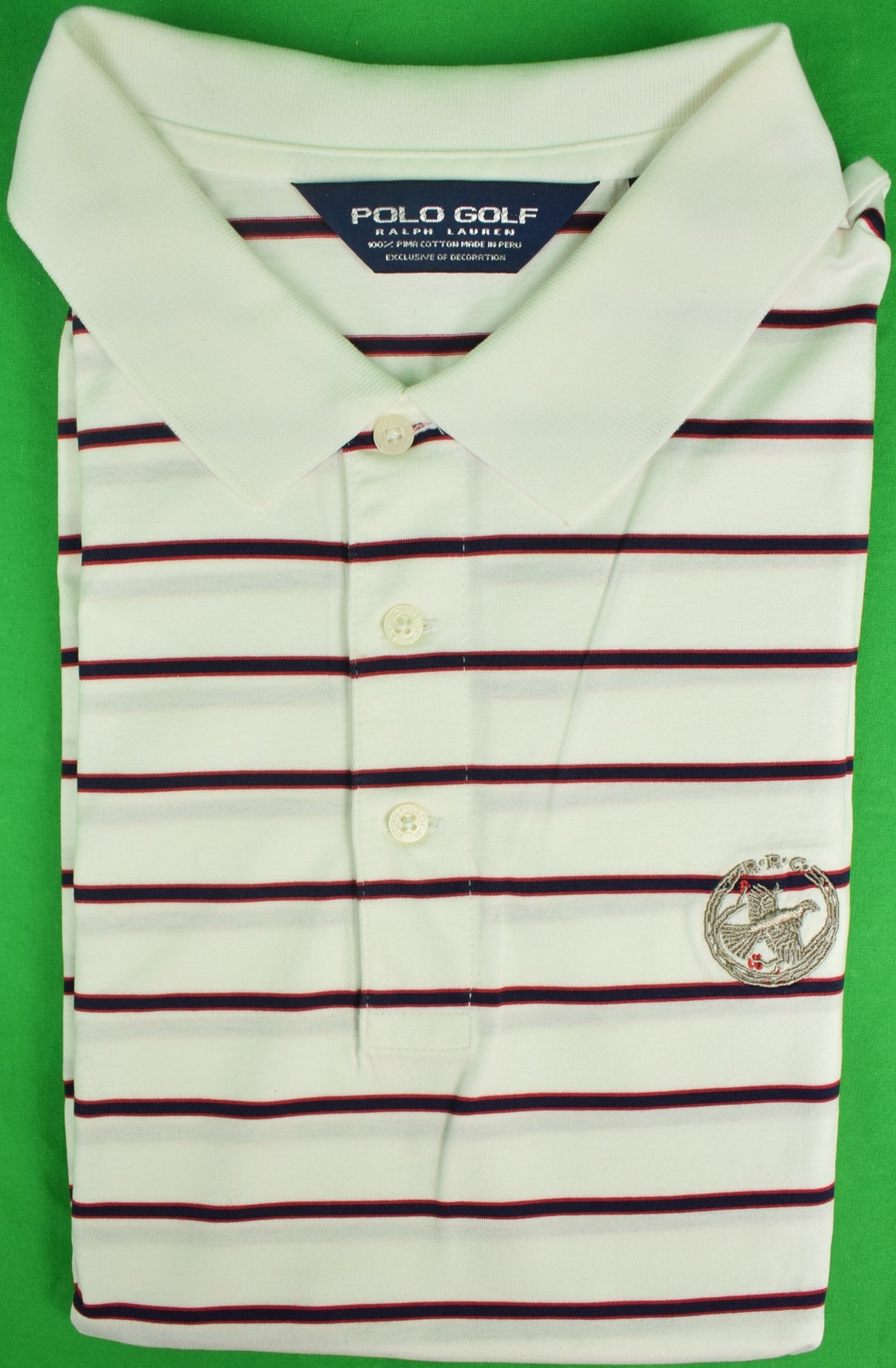 Ralph Lauren Polo Golf White/ Navy Stripe Shirt Sz: XXL w/ Rolling Rock Club Logo