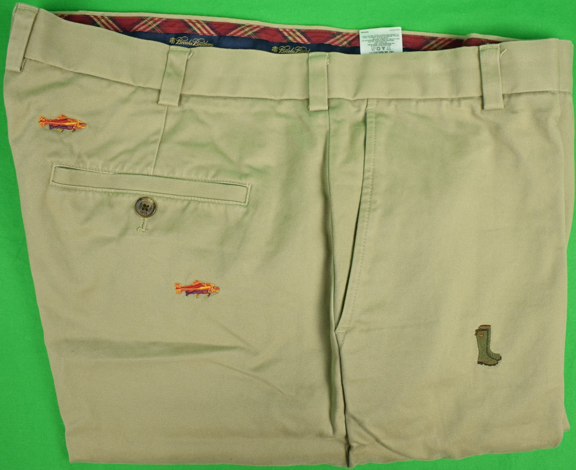 Brooks Brothers Brushed Cotton Clark Trousers Chinos w/ Embroidered Fly-Fishing Motif Sz: 40/ 32 (New w/o Tag!)
