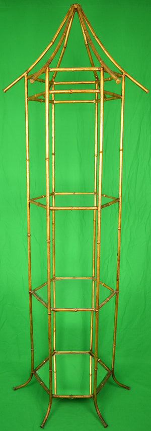 Palm Beach Brass Bamboo Three-Tier Etagere