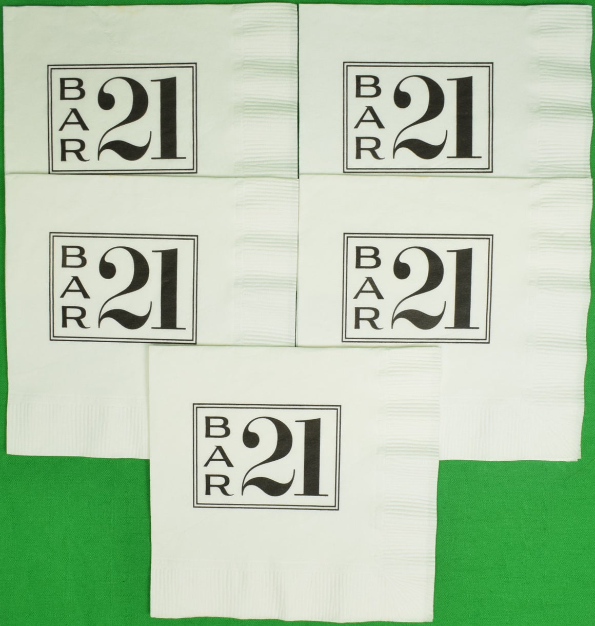 "Set of 5 Bar ""21"" Club Cocktail Napkins (New!)"