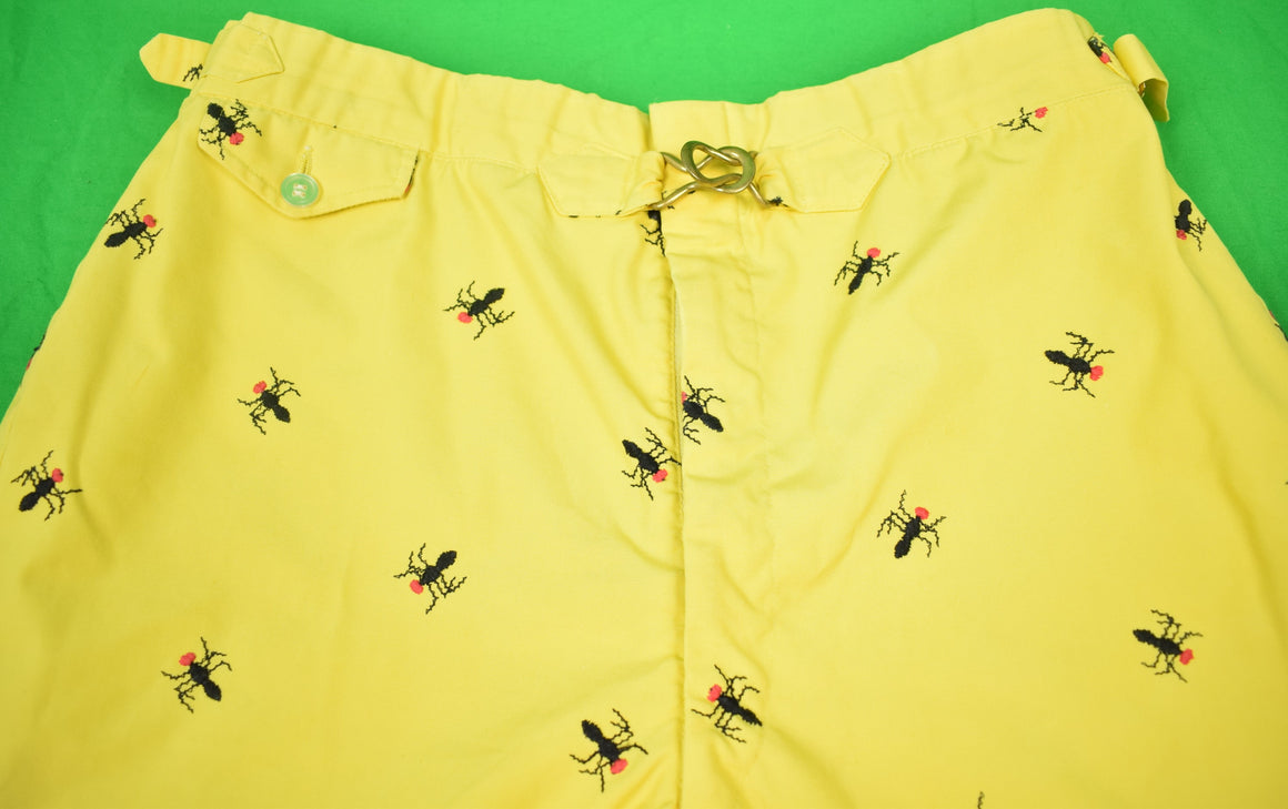 Chipp Wasp Embroidered Yellow Poplin Swim Trunks