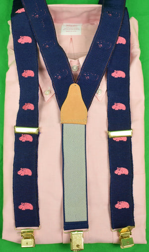 Pink Hippo on Navy Grosgrain English Clip-on Braces