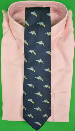 J Press Navy Irish Silk Tie w/ Fish Motif