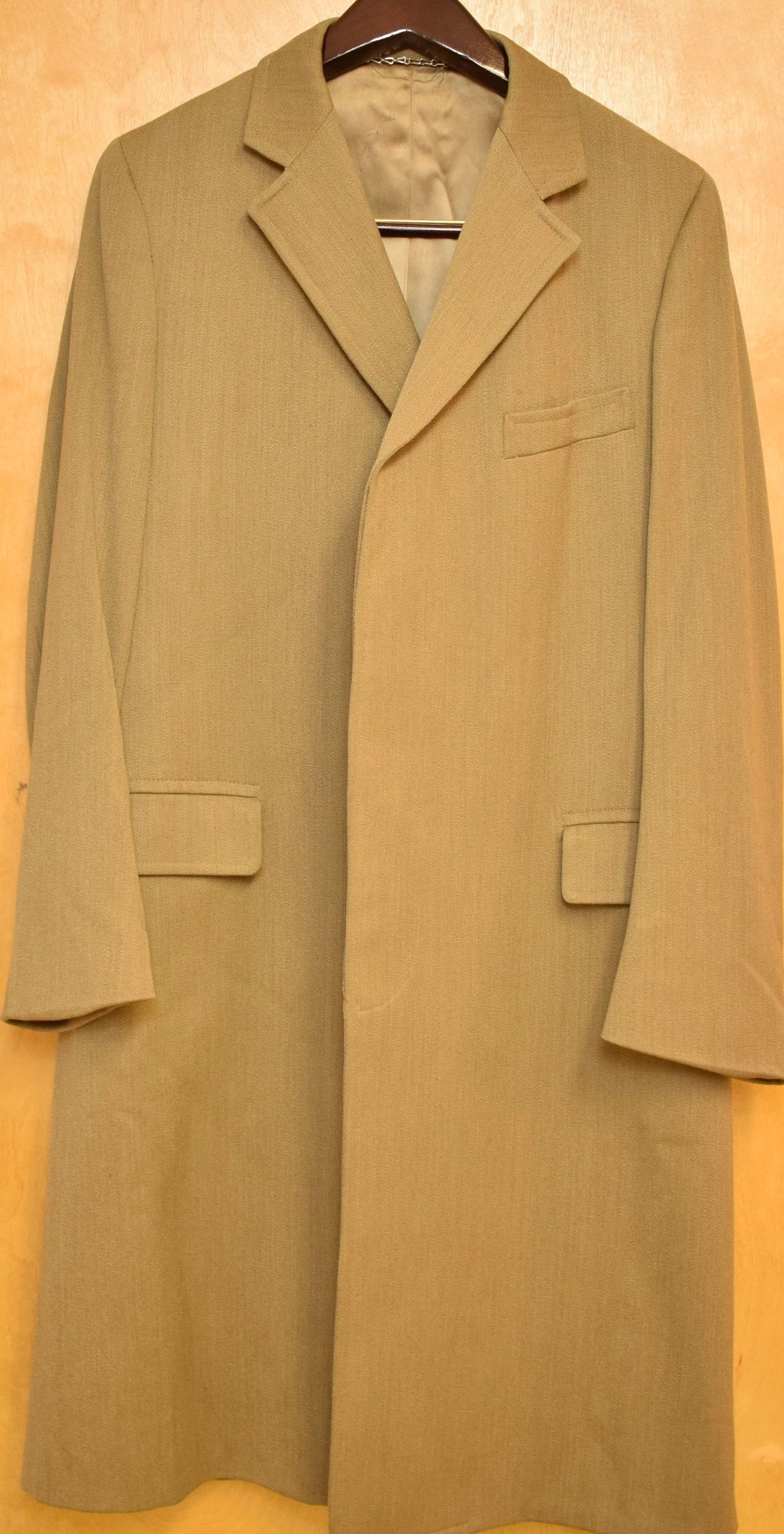Chipp East 44th St Covert Cloth Paddock Coat w/ Horn Buttons Sz 42 Long