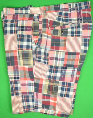 Brooks Brothers Red/ White & Blue Patch Madras/ Seersucker Bermuda Shorts Sz: 42