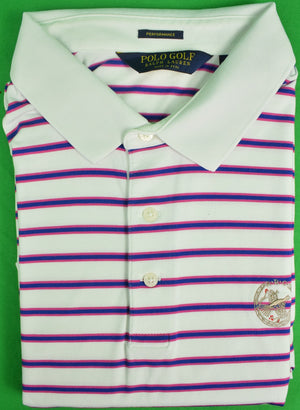 Ralph Lauren Polo Golf White/Red/Navy S/S Stripe Shirt w/ Rolling Rock Club Logo Sz: XXL
