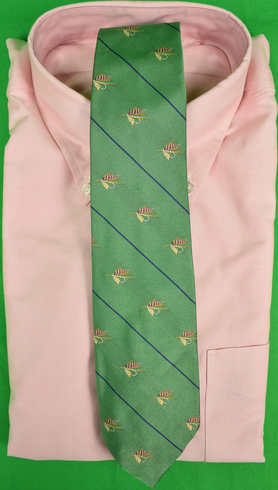 Polo by Ralph Lauren Sage Green Italian Silk Tie w/ Trout-Fly Motif