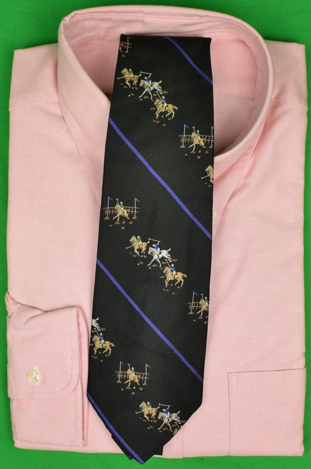 Polo by Ralph Lauren Black w/ Purple Stripe Polo Match Motif Jacquard Silk Tie