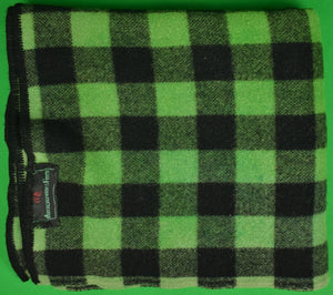 """Abercrombie & Fitch c1950s Green/ Black Buffalo Plaid Wool Camp Blanket"""